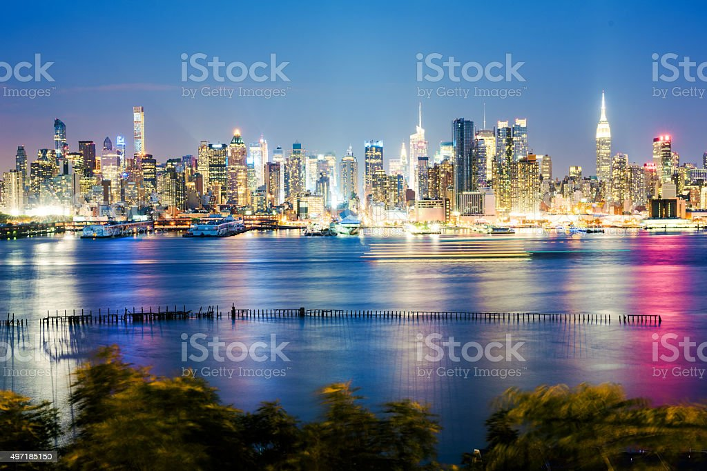 Evening view of Midtown Manhattan over the Hudson River stock photo
