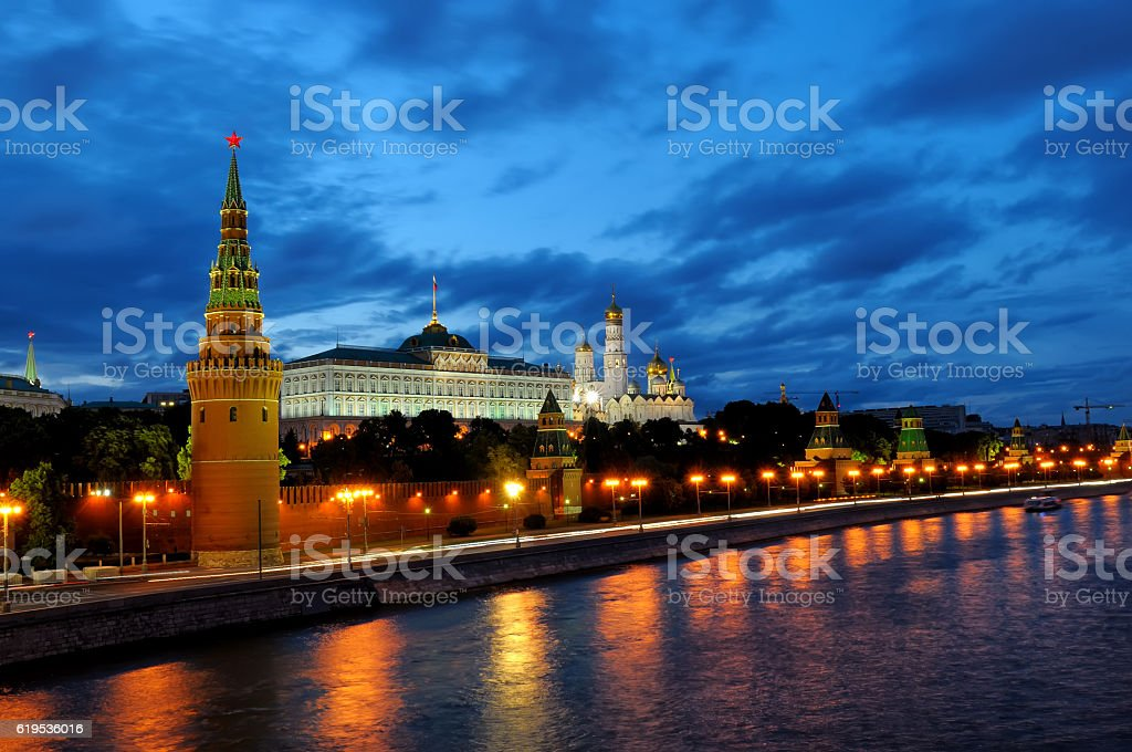 Evening view of Moscow Kremlin stock photo