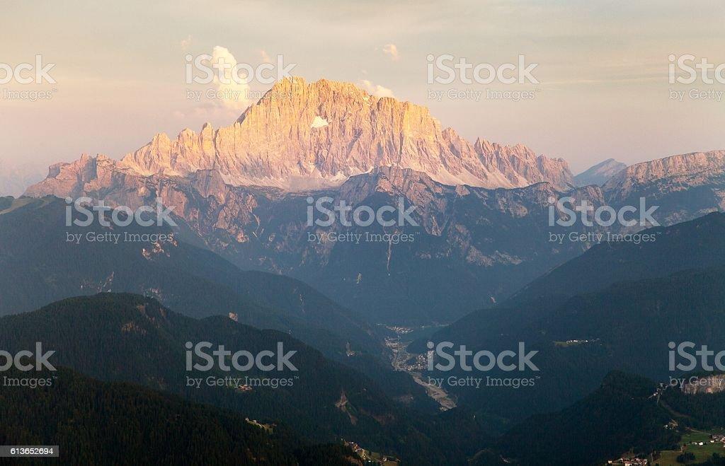 Evening view of Mount Civetta stock photo