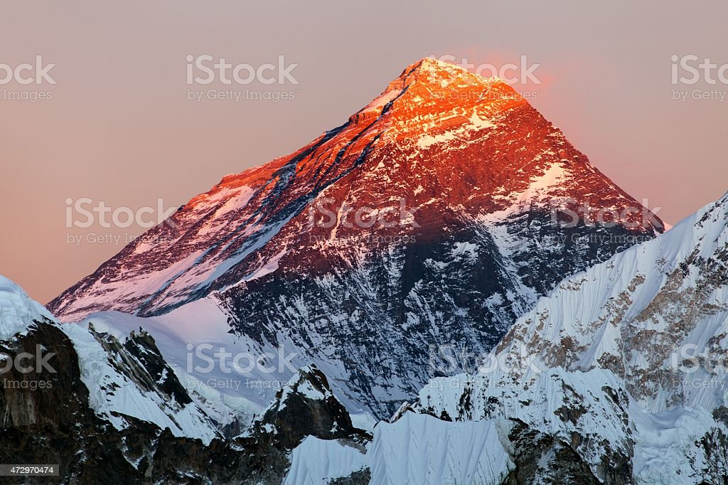 Evening view of Mount Everest from gokyo valley stock photo