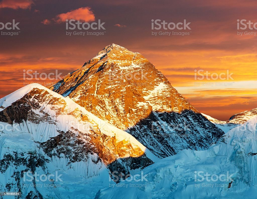 Evening view of Mount Everest from Kala Patthar stock photo