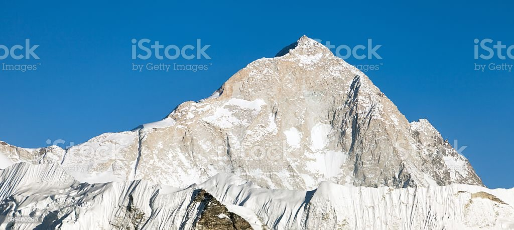 Evening view of mount Makalu stock photo
