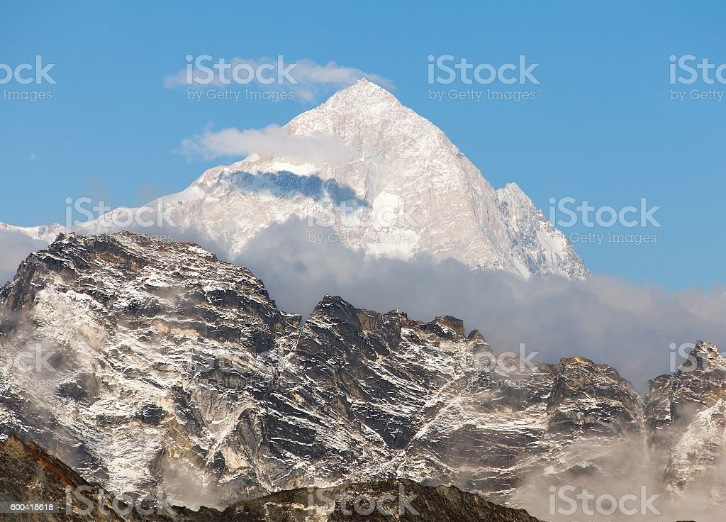 Evening view of mount Makalu (8463 m) stock photo