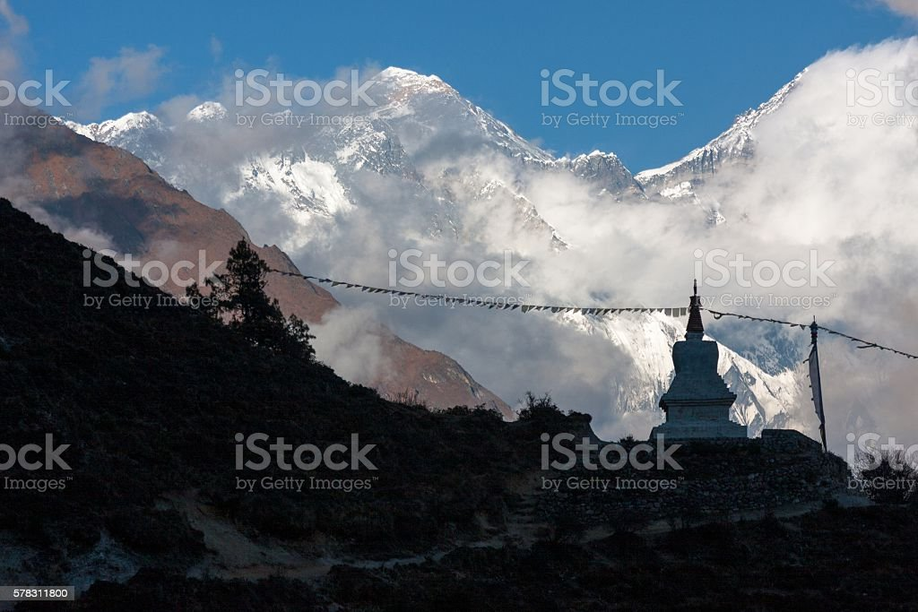 Evening view of Mt. Everest stock photo