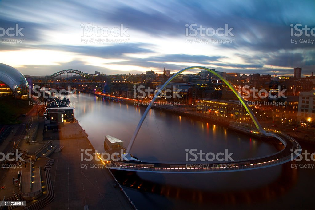 Evening View of Newcastle Upon Tyne and the Tyne Bridges stock photo