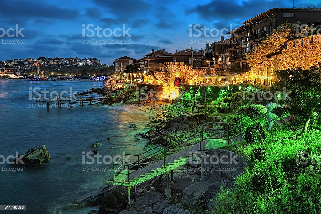 Evening view of Old Town of Sozopol, Bulgaria stock photo