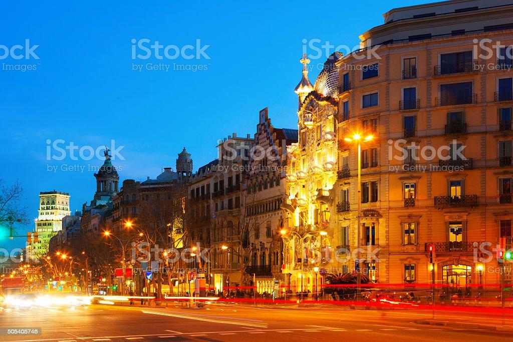 Evening view of Passeig de Gracia in Barcelona, Catalonia stock photo
