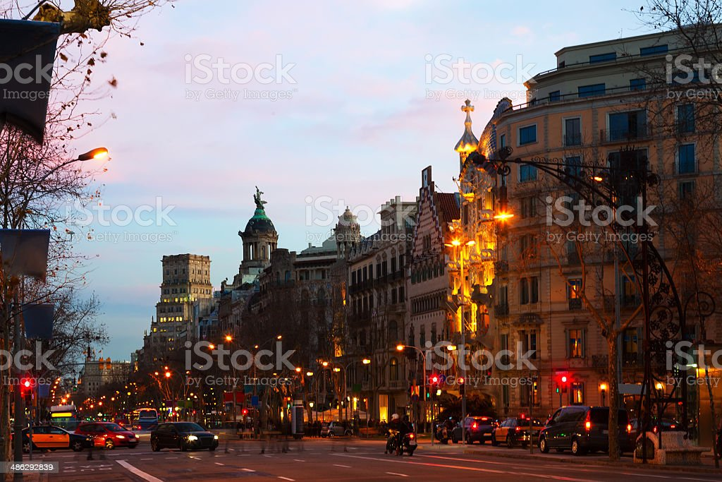 Evening view of Passeig de Gracia in Barcelona stock photo