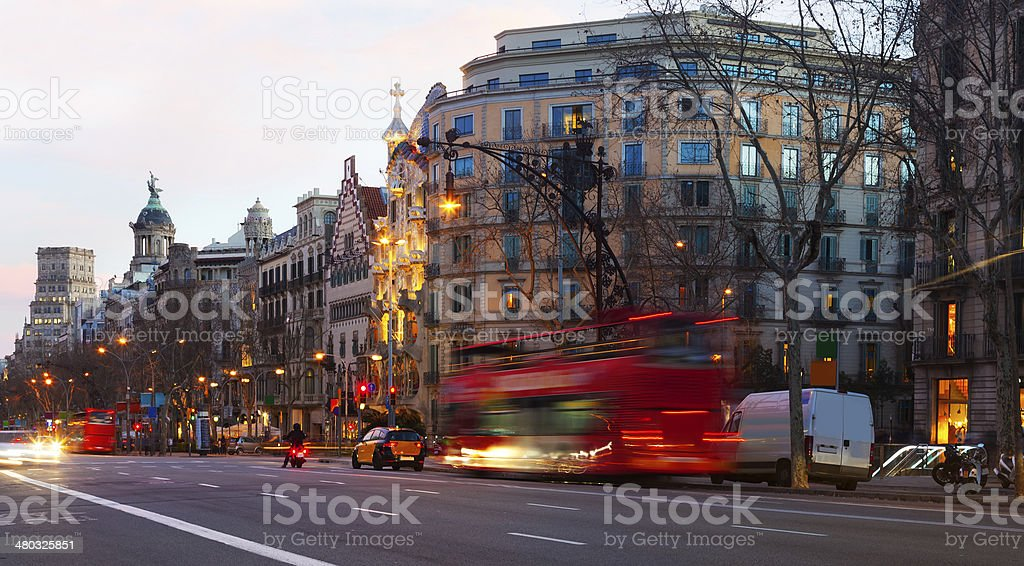 Evening view of Passeig de Gracia in  Barcelona, Spain stock photo