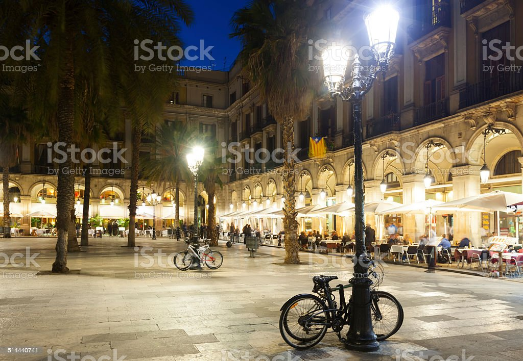 evening view of Placa Reial in  Barcelona stock photo