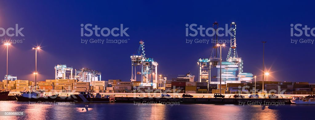 Evening view of Port of Algeciras stock photo