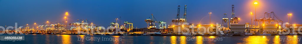 Evening view of  Port with cranes and containers stock photo