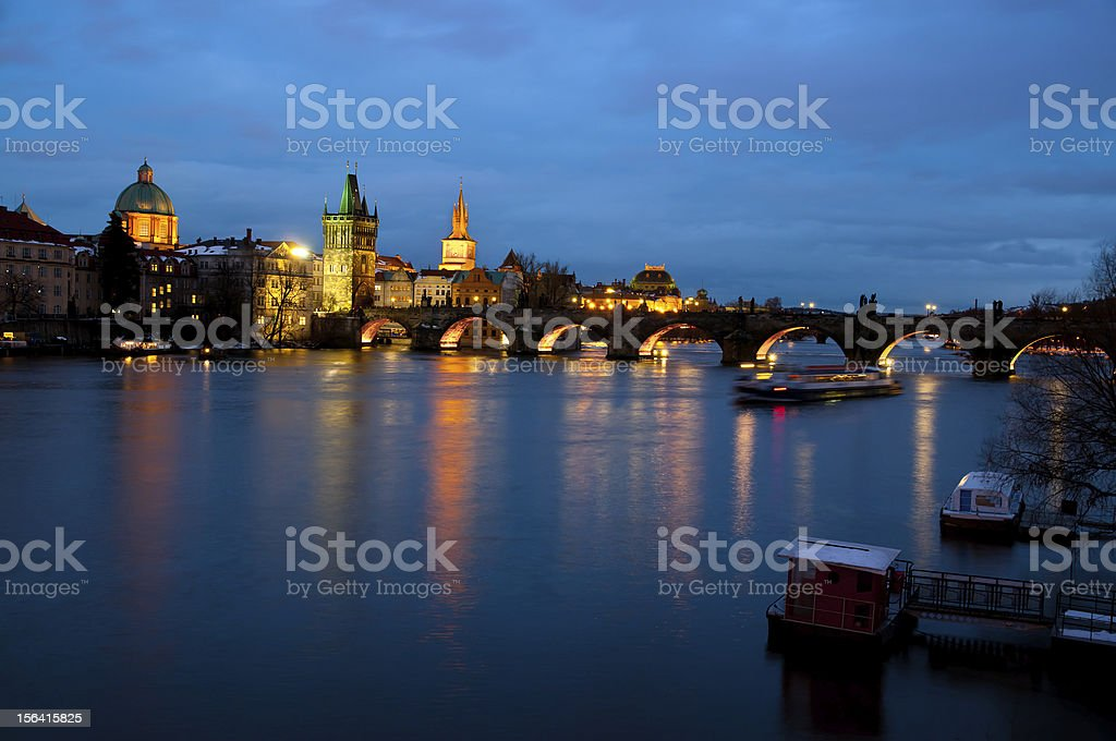 Evening view of Prague Castle and Charles Bridge royalty-free stock photo