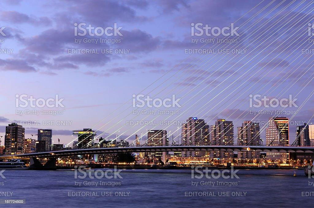 Evening view of Rotterdam skyline with Erasmus Bridge stock photo