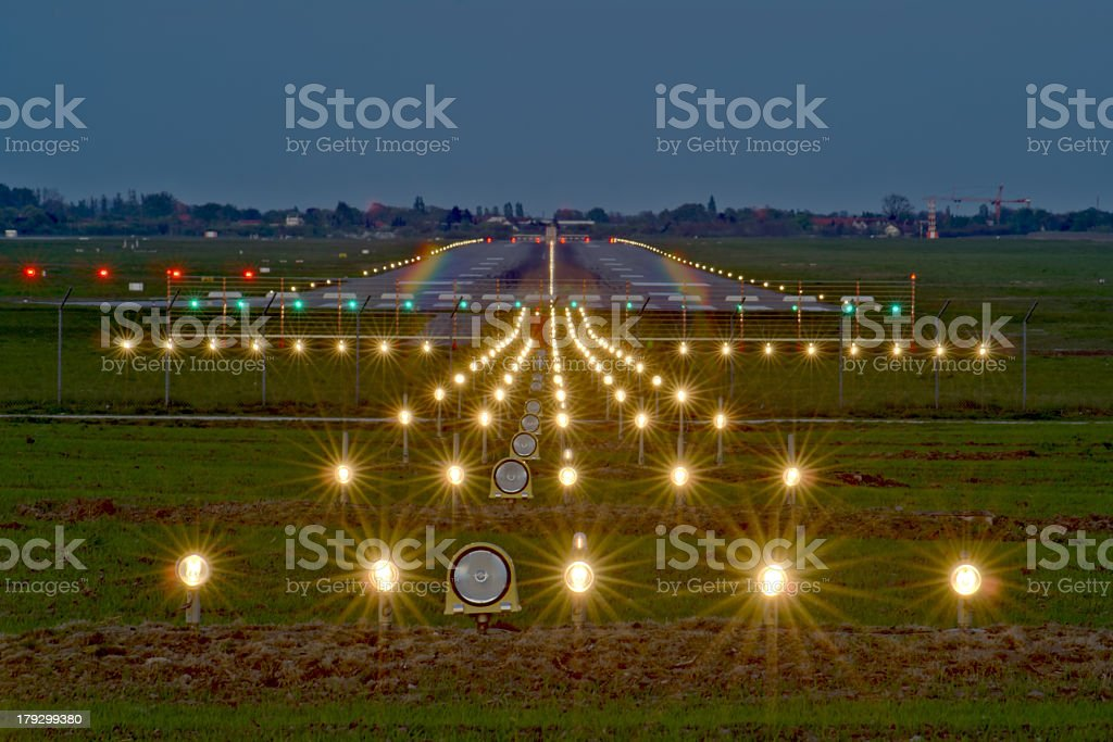 Evening view of runway check stock photo