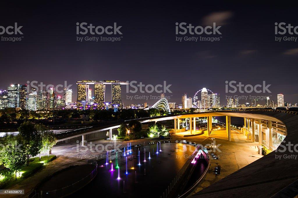 evening view of Singapore stock photo
