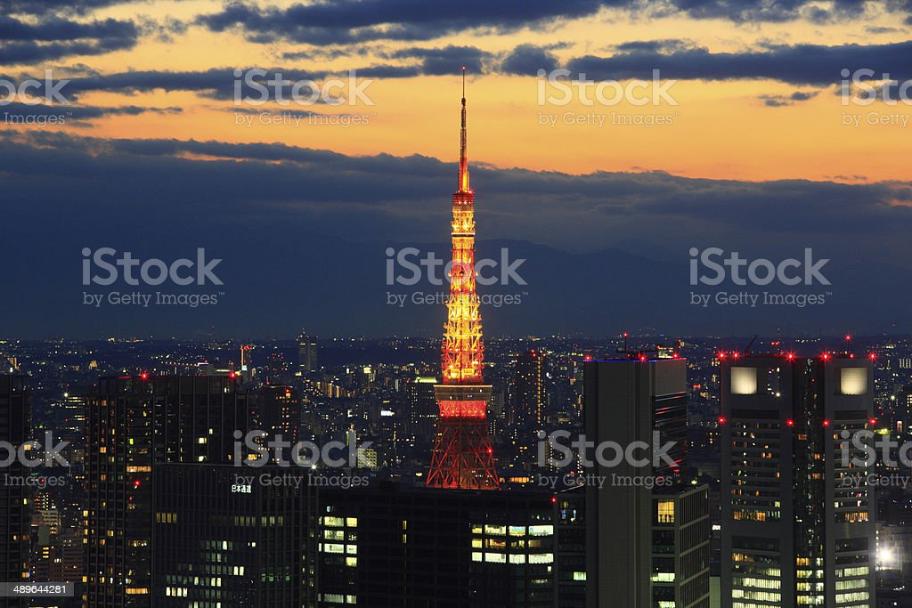 Evening view of Skyscrapers in Shiodome and Tokyo Tower stock photo