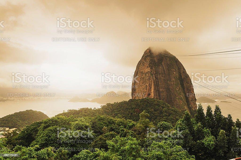 Evening view of Sugarloaf mountain Rio De Janerio Brazil stock photo
