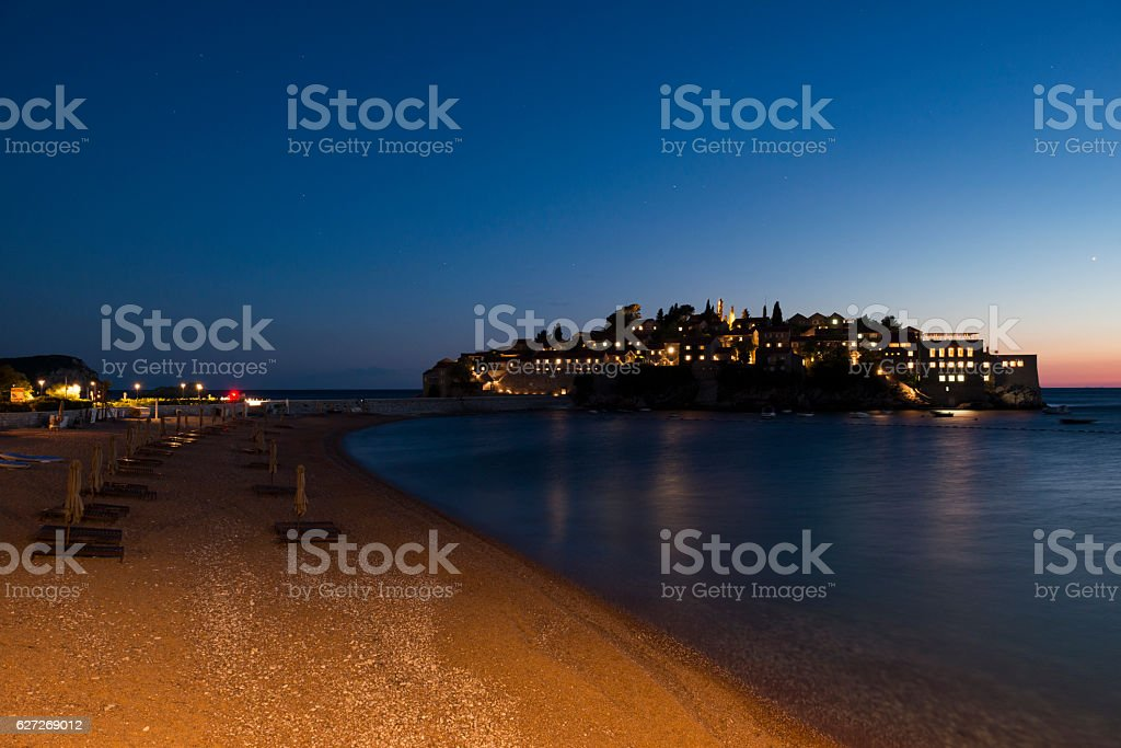 Evening view of Sveti Stefan, Budva, Montenegro stock photo
