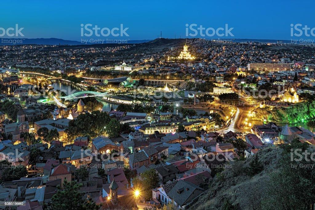 Evening view of Tbilisi, Georgia stock photo