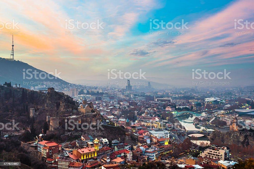 Evening view of Tbilisi with Narikala Fortress, Georgia stock photo