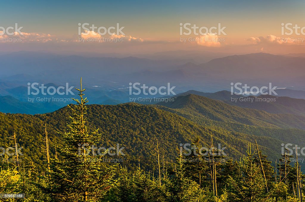 Evening view of the Appalachian Mountains from Clingman's Dome i stock photo