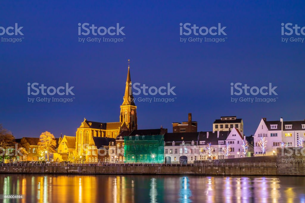 Evening view of the Dutch Maastricht city center stock photo