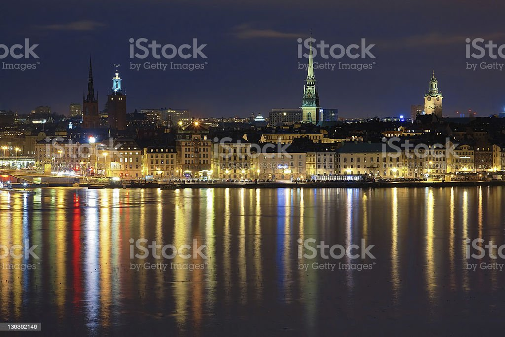 Evening view of the Gamla Stan in Stockholm, Sweden stock photo