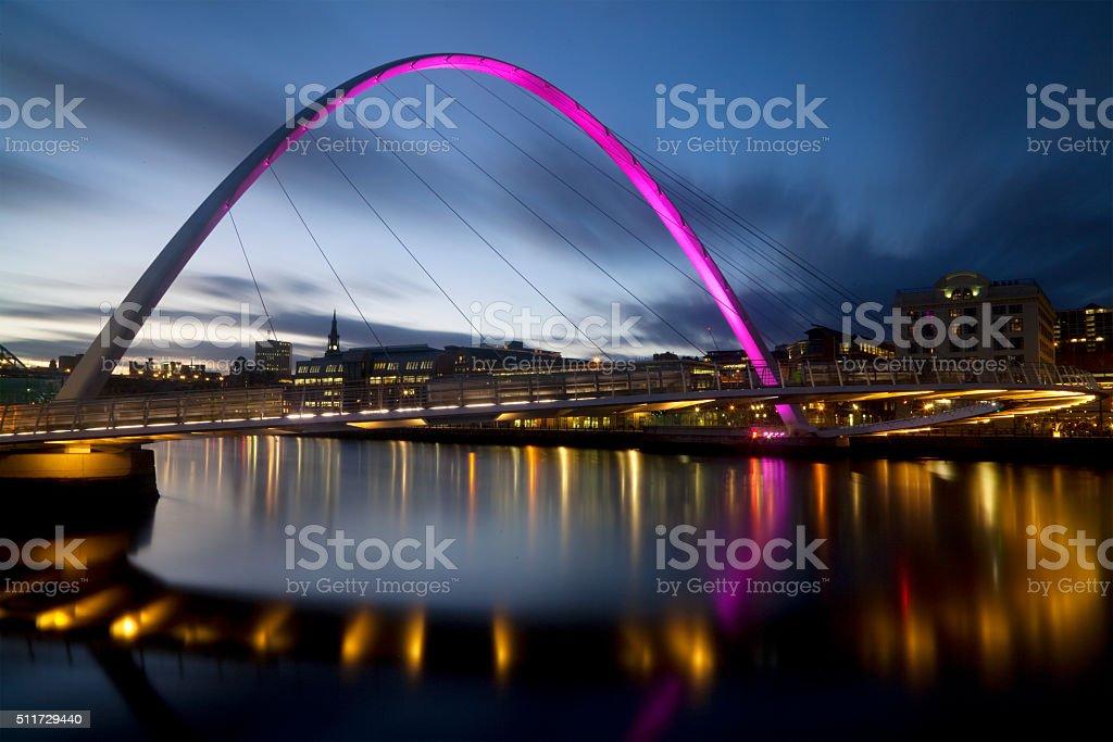 Evening View of the Gateshead Millennium Bridge stock photo