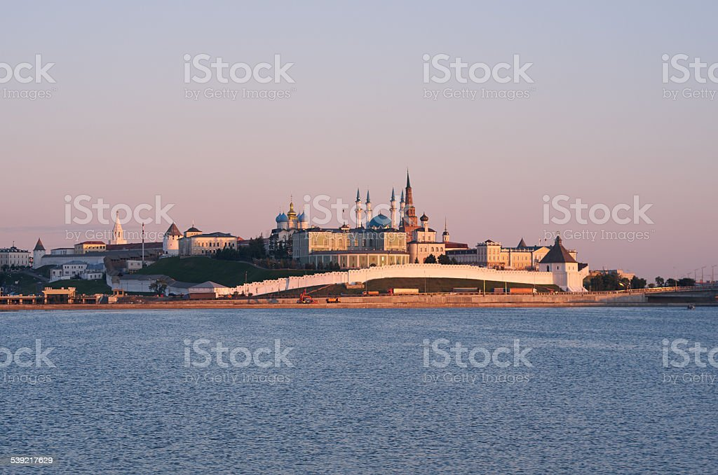 Evening view of the Kazan kremlin stock photo