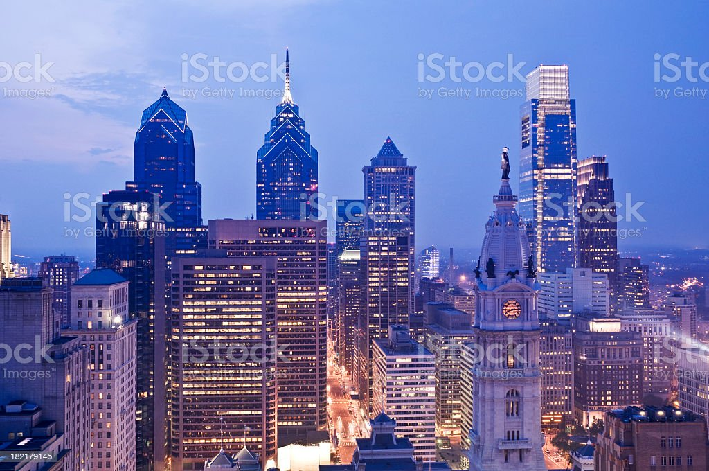 Evening view of the Philadelphia cityscape stock photo