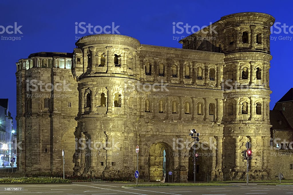 Evening view of the Porta Nigra in Trier, Germany royalty-free stock photo