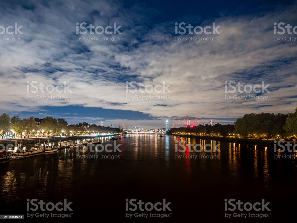 Evening view of the Thames and Chelsea Bridge, London stock photo