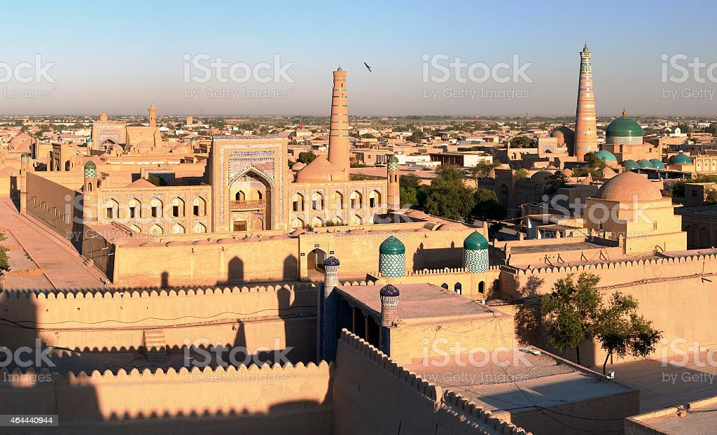 Evening view of the walled city of Khiva in Uzbekistan stock photo