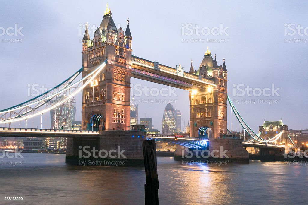Evening View Of Tower Bridge In London, England stock photo