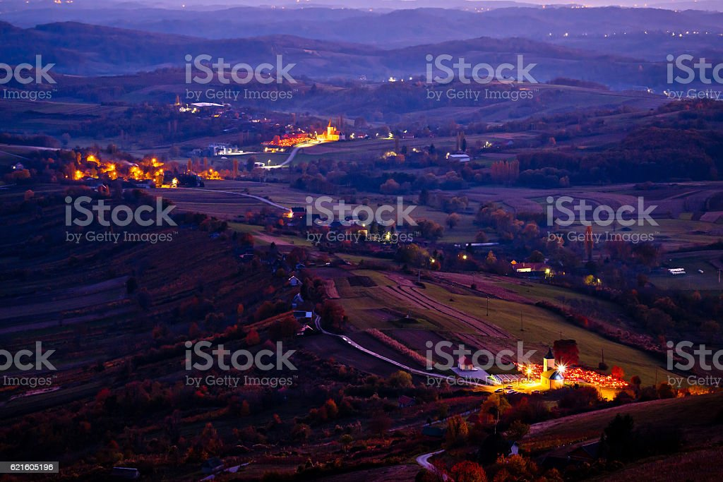 Evening view of villages and landscape of Prigorje stock photo