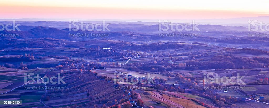 Evening view of villages and landscape stock photo