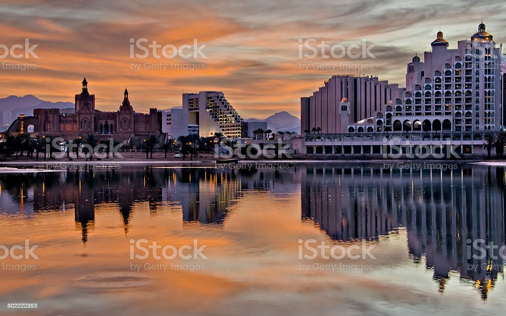 Evening view on  lagoon and hotels , Eilat, Israel stock photo