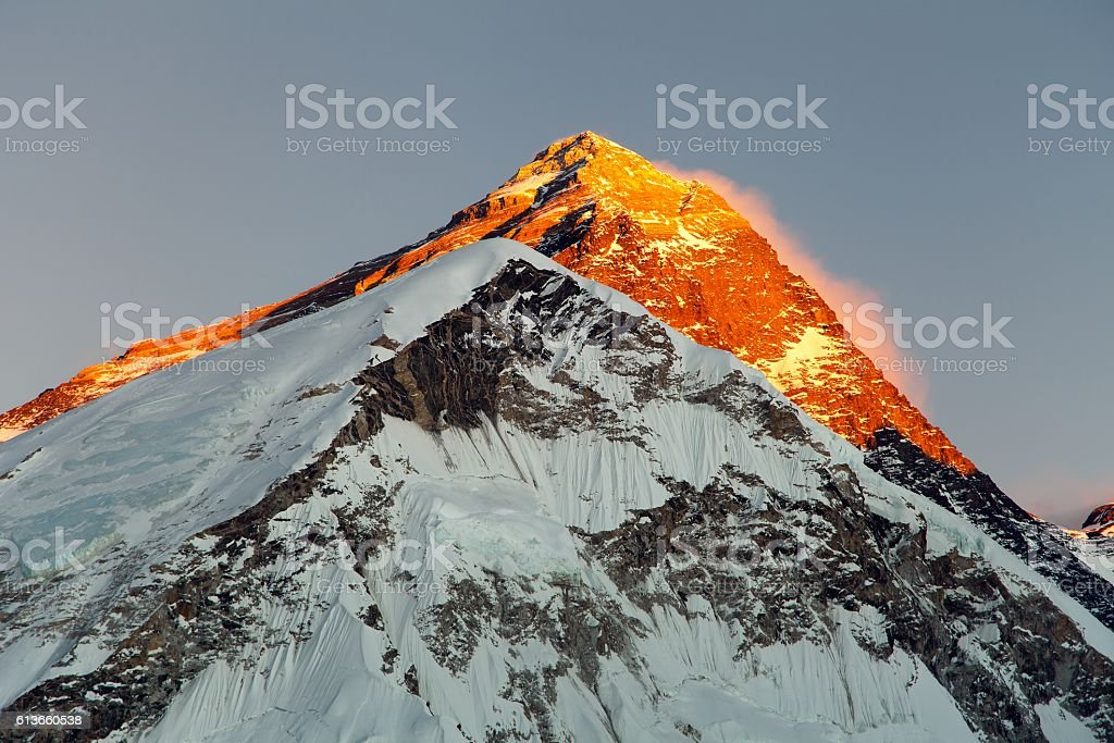 Evening view on top of Mount Everest stock photo
