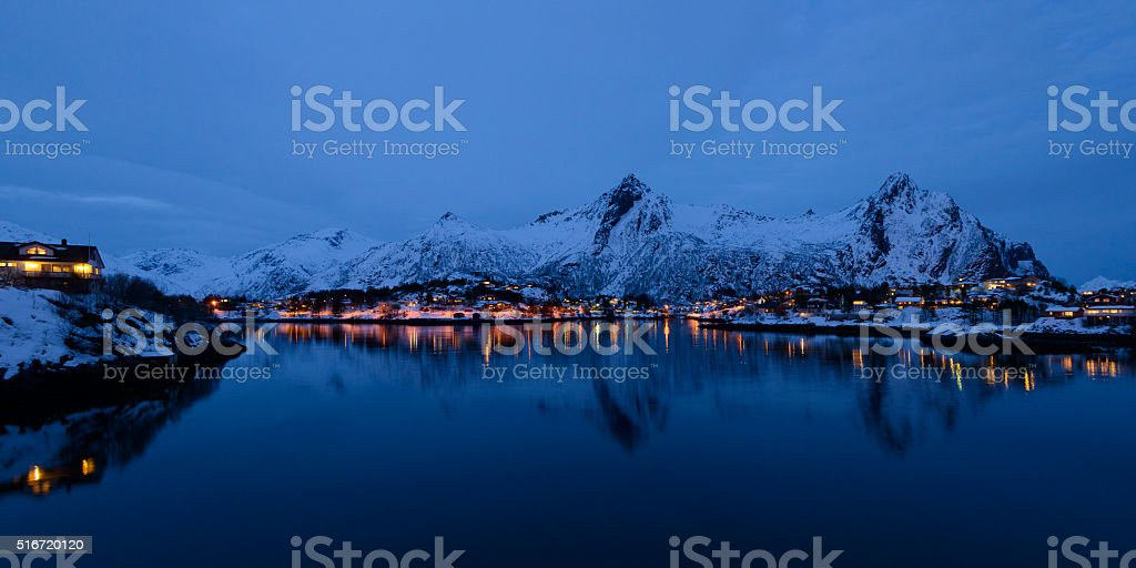 Evening view over Svolvaer in the Lofoten in Norway stock photo