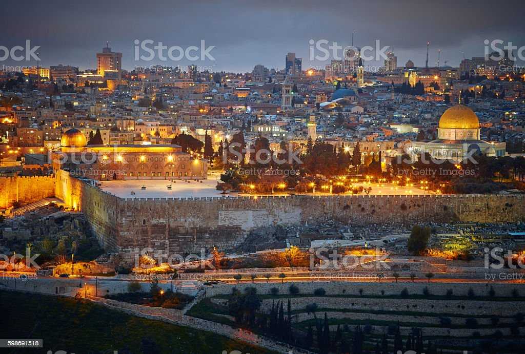 Evening view to Jerusalem old city. Israel stock photo