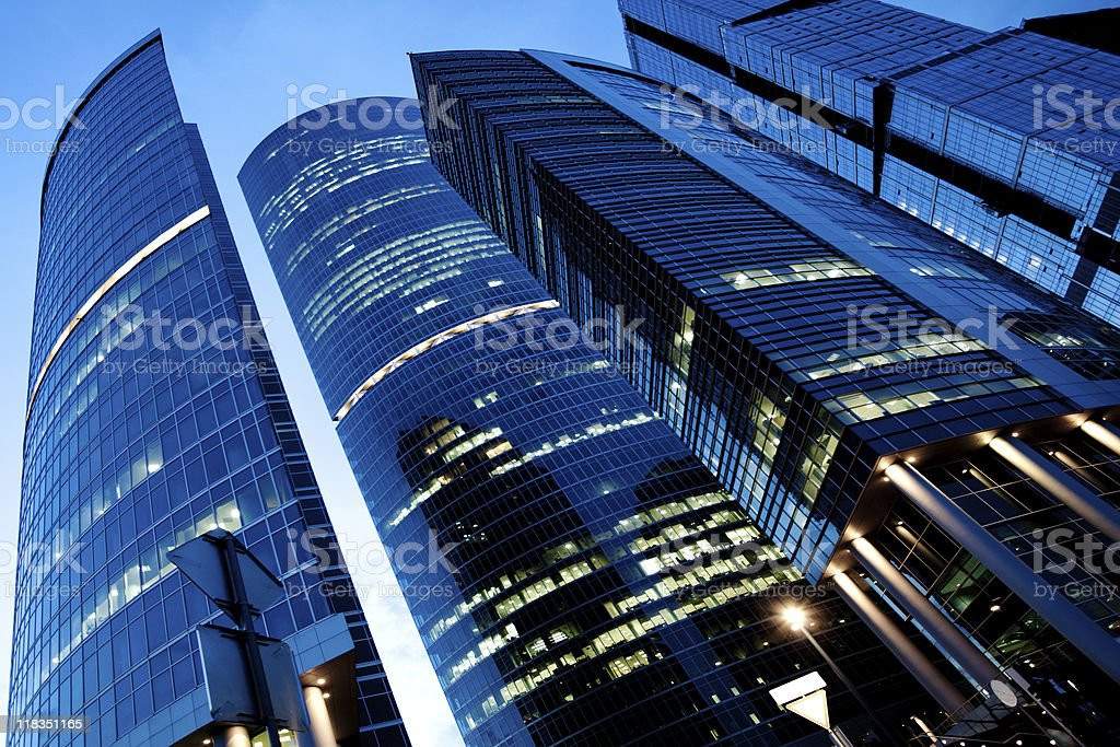Evening view to new business center royalty-free stock photo