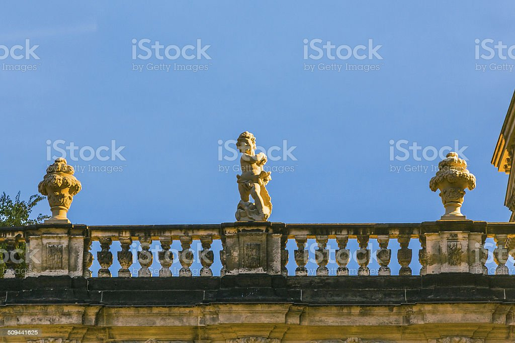 evening view to Nymph bath sculptures at the Zwinger stock photo