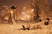 Evening winter city
