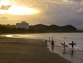 Evening with sun set above Aoshima beach near Miyazaki, Japan