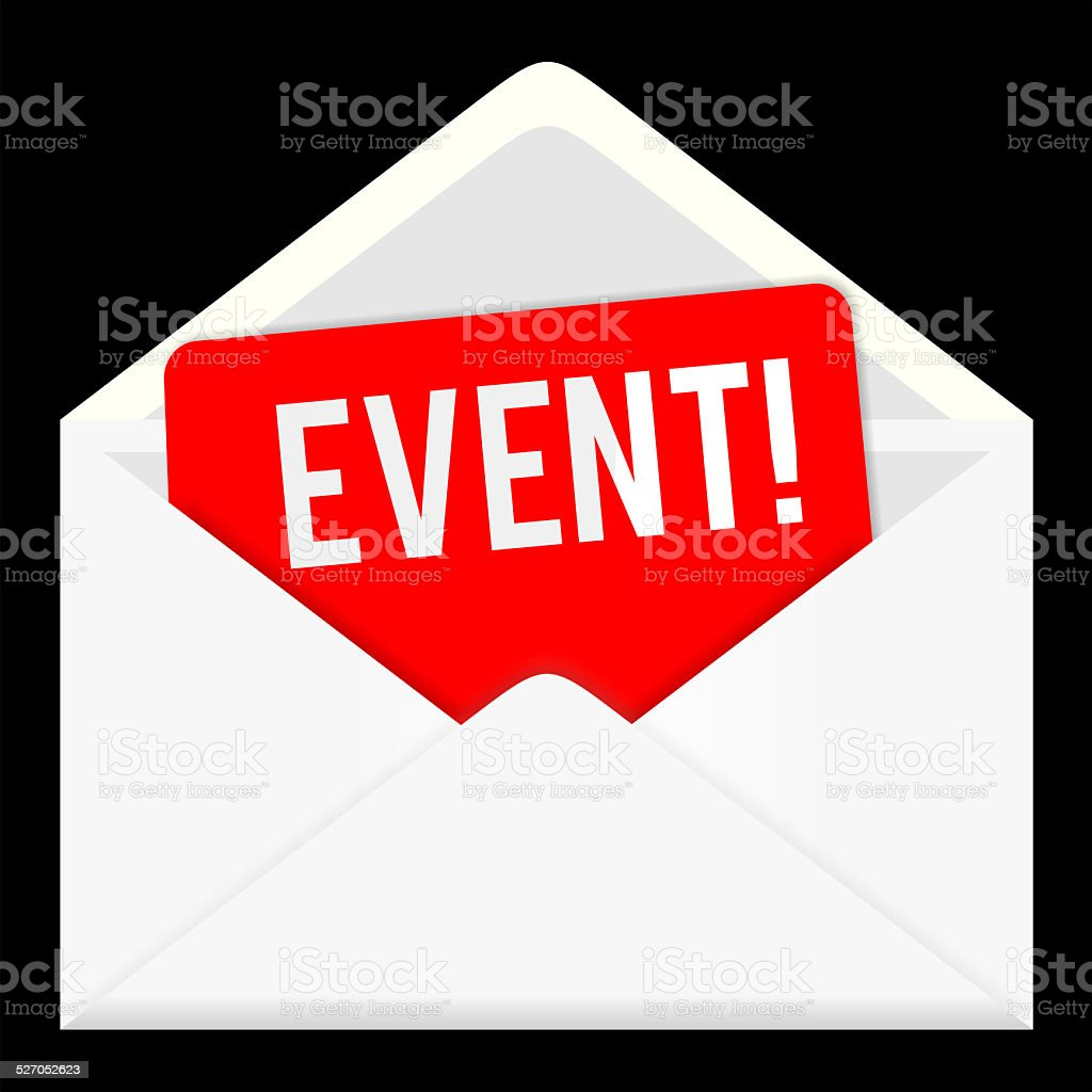 event, news. web icon, email communication stock photo