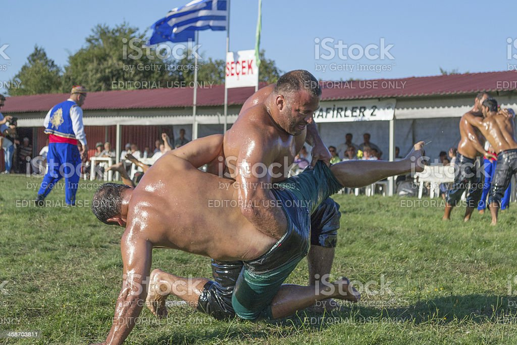 Event of annual oil wrestling stock photo