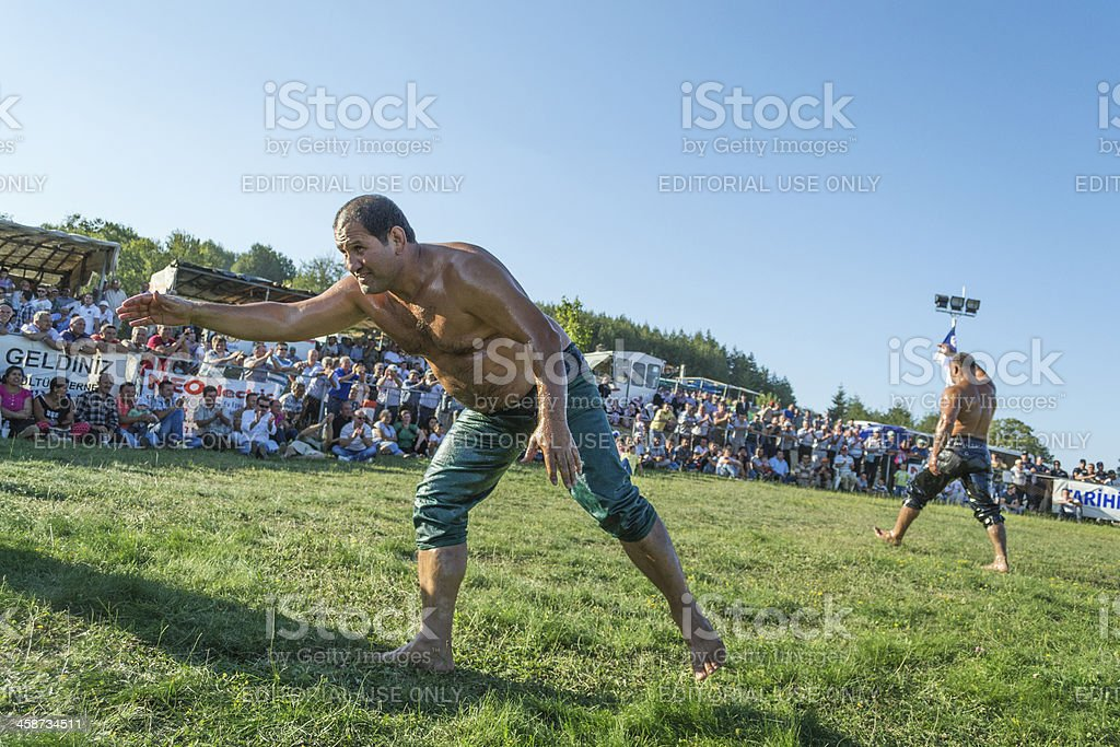 Event of annual oil wrestling royalty-free stock photo