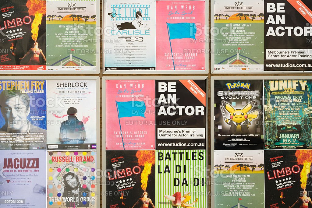 Event posters on a wall stock photo