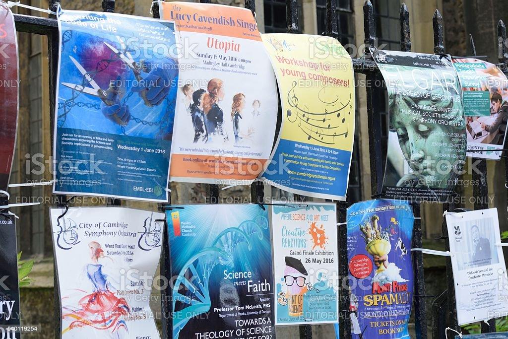 Event  Posters on railings cambridge UK stock photo